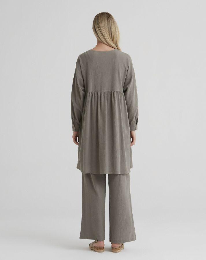 T21Y-7005 Doğal Kumaş Bol Paça Pantolon