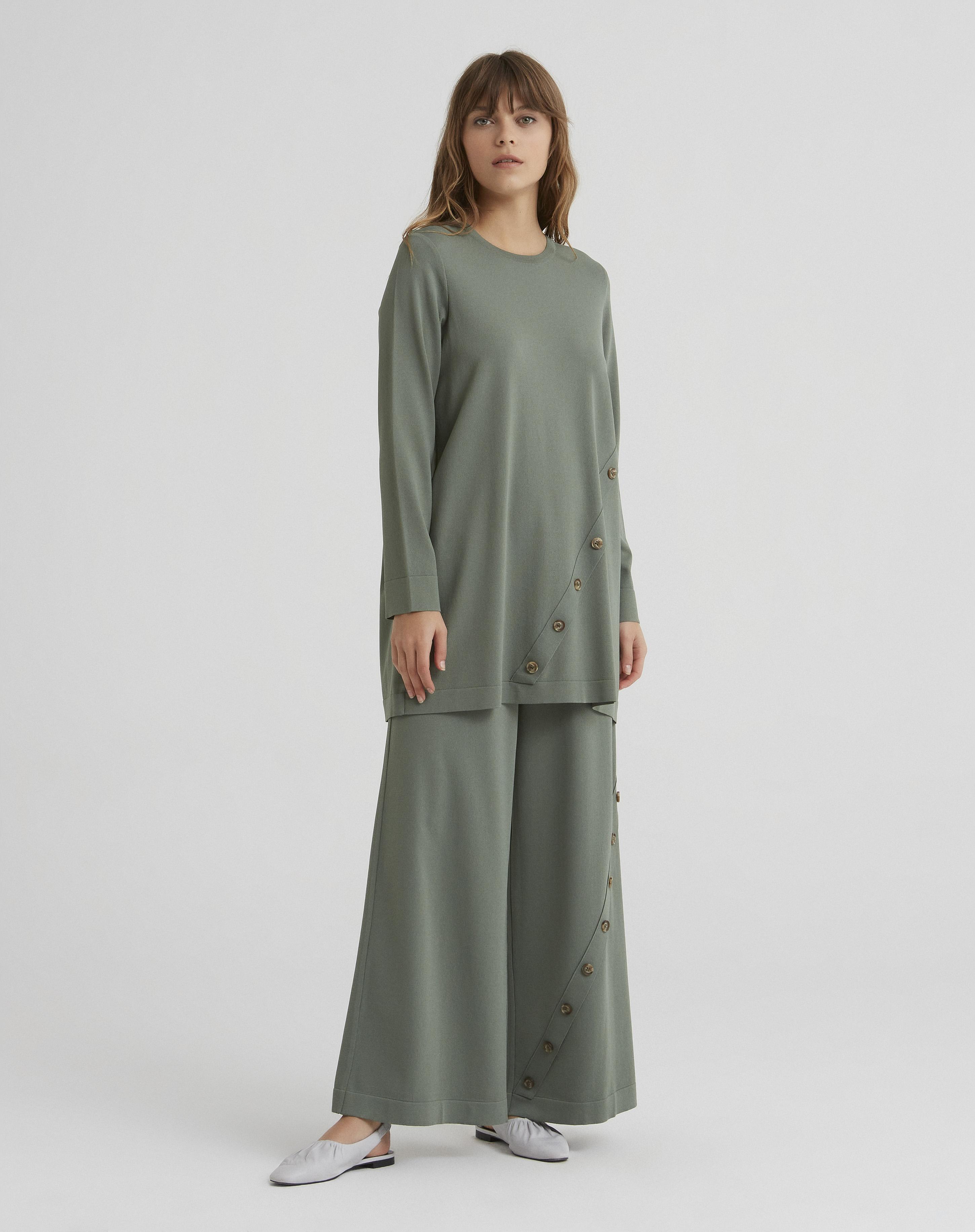 Miss Dalida - T21Y-7017 Paçası Düğme Detaylı Bol Paça Triko Pantolon